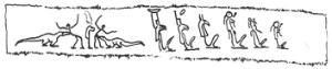 Linned med afbildning af en række guder samt to mænd, der angribes af krokodiller. Det var indpakningen til en helende amulet mod sygdoms-dæmoner (Papyrus DeM 36).